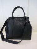 Y's YOHJI YAMAMOTO (ワイズ ヨウジヤマモト) ソフトシボレザー口金ポケットバッグ:ブラック