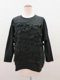 H.A.K (ハク) シルケット天竺フリルTシャツ:ブラック