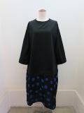 KEI Hayama PLUS(ケイハヤマプリュス)パールモクロディ×シャーリングパネルドット七分袖ワンピース:ブラック×ブラック