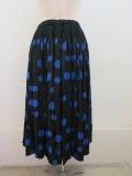 KEI Hayama PLUS(ケイハヤマプリュス) シャーリングパネルドットウエストゴム ギャザースカート:ブラック