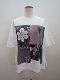 KEI Hayama PLUS(ケイハヤマプリュス) フォットコラージュプリントプレミアム天竺半袖Tシャツ:ホワイト