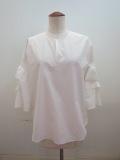 g.ジードット  五分袖プルオーバーシャツ:ホワイト