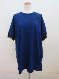 Y's YOHJI YAMAMOTO (ワイズ ヨウジヤマモト) ラフメモカットジャガードビッグTシャツ:ブルー