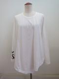 Y's YOHJI YAMAMOTO (ワイズ ヨウジヤマモト) Y'sロゴ顔料プリント右フラシ長袖Tシャツ:ホワイト
