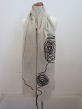 Y's YOHJI YAMAMOTO (ワイズ ヨウジヤマモト) コード刺繍ぐるぐるストール:ベージュ×ブラック