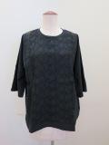 KEI Hayama PLUS(ケイハヤマプリュス) リンクルワッシャーレース×マハラニプレミアム天竺半袖Tシャツ:ブラック
