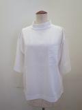 KEI Hayama PLUS(ケイハヤマプリュス) スーピマ天竺ハイネック半袖Tシャツ:ホワイト