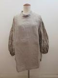 KEI Hayama PLUS(ケイハヤマプリュス) あざみレース刺繍リネンワッシャー七分袖オーバーブラウス:ライトグレー