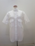 Y's YOHJI YAMAMOTO (ワイズ ヨウジヤマモト) 綿ブロード半袖シャツ:ホワイト