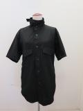 Y's YOHJI YAMAMOTO (ワイズ ヨウジヤマモト) 綿ブロード半袖シャツ:ブラック