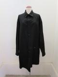 Y's YOHJI YAMAMOTO (ワイズ ヨウジヤマモト)綿ブロードタックフラップポケット長袖ブラウス:ブラック