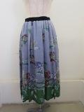 KEI Hayama PLUS(ケイハヤマプリュス) アジサイプリントテンセルキュプラローンウエストゴム入りギャザースカート:ブルー