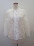 KEI Hayama PLUS(ケイハヤマプリュス) ボイルパターン塩縮柄袖リブジャケット:ホワイト