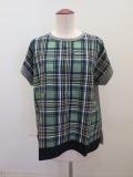 KEI Hayama PLUS(ケイハヤマプリュス) キュプラコットンチェック半袖Tシャツ:グリーン