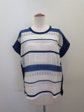 KEI Hayama PLUS(ケイハヤマプリュス) レース調ジャガードフレンチスリーブTシャツ:ブルー