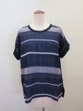 KEI Hayama PLUS(ケイハヤマプリュス) レース調ジャガードフレンチスリーブTシャツ:ネイビー