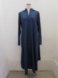 Y's YOHJI YAMAMOTO (ワイズ ヨウジヤマモト) コットンツイルアウトポケットシャツドレス:ブルー