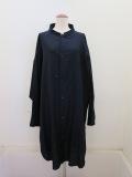 Y's YOHJI YAMAMOTO (ワイズ ヨウジヤマモト) コットン薄ツイル羽織シャツドレス:ネイビー