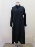 Y's YOHJI YAMAMOTO (ワイズ ヨウジヤマモト) コットン薄ツイルロングシャツドレス:ネイビー