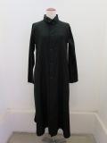 Y's YOHJI YAMAMOTO (ワイズ ヨウジヤマモト) コットン薄ツイルロングシャツドレス:ブラック