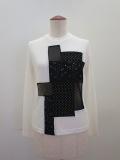 Y's YOHJI YAMAMOTO (ワイズ ヨウジヤマモト) 強撚ミラノリブパッチワーク丸首Tシャツ:オフホワイト
