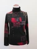 Y's YOHJI YAMAMOTO (ワイズ ヨウジヤマモト) ビンテージスクラッププリントハイネック長袖Tシャツ:ブラック