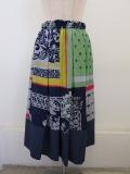KEI Hayama PLUS(ケイハヤマプリュス) スカーフミックスプリントウエストゴムタックギャザースカート:ネイビー