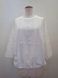 KEI Hayama PLUS(ケイハヤマプリュス) キュプラコットンツイルインチレース七分袖裾紐付プルオーバー:ホワイト