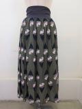 H.A.K (ハク) チューリップパターンパピリオジャガードギャザースカート:カーキ