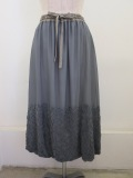 KEI Hayama PLUS(ケイハヤマプリュス) リーフエンブロイダリーキュプラシフォンウエストゴムギャザーバルーンスカート:グレー