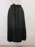 KEI Hayama PLUS(ケイハヤマプリュス) リーフエンブロイダリーキュプラシフォンウエストゴムギャザーバルーンスカート:ブラック
