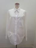Y's YOHJI YAMAMOTO (ワイズ ヨウジヤマモト) 100/2綿ブロード右フラシポケットシャツ:ホワイト