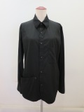 Y's YOHJI YAMAMOTO (ワイズ ヨウジヤマモト) 100/2綿ブロード右フラシポケットシャツ:ブラック