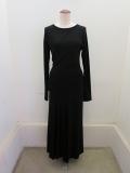 Y's YOHJI YAMAMOTO (ワイズ ヨウジヤマモト) ウールクリアスムース左裁ち切りドレス:ブラック