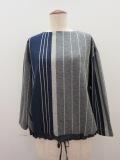 KEI Hayama PLUS(ケイハヤマプリュス) 巾なり3色ストライプ長袖プルオーバー:ネイビー