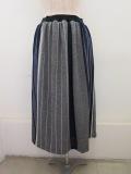 KEI Hayama PLUS(ケイハヤマプリュス) 巾なり3色ストライプウエストゴムギャザースカート:ネイビー