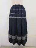KEI Hayama PLUS(ケイハヤマプリュス) ランダムボーダージャガードウエストゴムタックギャザースカート:ネイビー