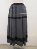 KEI Hayama PLUS(ケイハヤマプリュス) ランダムボーダージャガードウエストゴムタックギャザースカート:グレー