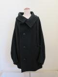 Y's YOHJI YAMAMOTO (ワイズ ヨウジヤマモト) ウールモッサミドル丈ケープコート:ブラック