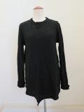 Y's YOHJI YAMAMOTO (ワイズ ヨウジヤマモト) 幾何学リンクス縮絨袖口W丸首Tシャツ: ブラック
