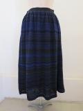 KEI Hayama PLUS(ケイハヤマプリュス) メランジボーダージャガードギャザースカート:ブルー