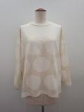 KEI Hayama PLUS(ケイハヤマプリュス) クルーネック長袖水玉Tシャツ:生成り×オフホワイト