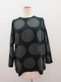 KEI Hayama PLUS(ケイハヤマプリュス) クルーネック長袖水玉Tシャツ:ブラック×チャコール