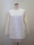 KEI Hayama PLUS(ケイハヤマプリュス) ヴィスリーポンチ×スカーフパネルラッセルレース:七分袖Tシャツ:ホワイト