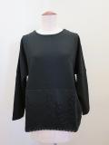 KEI Hayama PLUS(ケイハヤマプリュス) ヴィスリーポンチ×スカーフパネルラッセルレース七分袖Tシャツ:ブラック