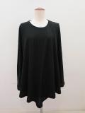 Y's YOHJI YAMAMOTO (ワイズ ヨウジヤマモト)  強撚天竺フレア長袖Tシャツ:ブラック
