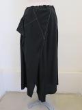 Y's YOHJI YAMAMOTO (ワイズ ヨウジヤマモト) ポプリン三角ステッチフレアスカート:ブラック