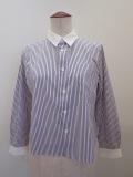 122sheep ワンツーツーシープ 100/2マルチストライプクレリックシャツ:ホワイト