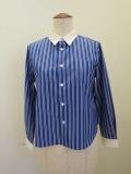 122sheep ワンツーツーシープ 100/2マルチストライプクレリックシャツ:ブルー
