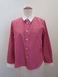 122sheep ワンツーツーシープ 100/2マルチストライプクレリックシャツ:ピンク